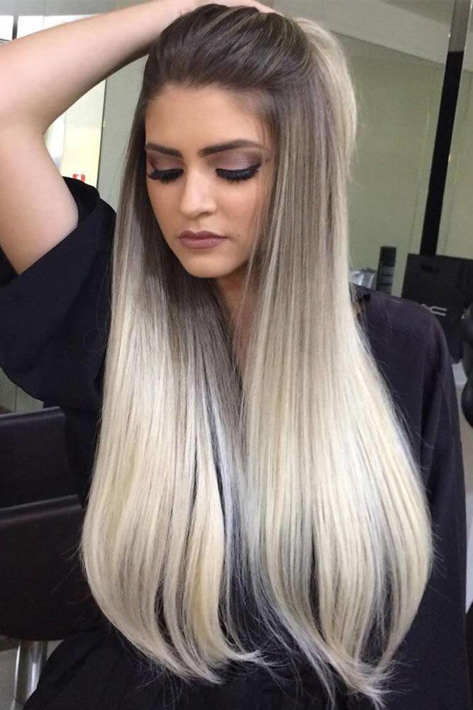 двойное окрашивание волос светлый и темный