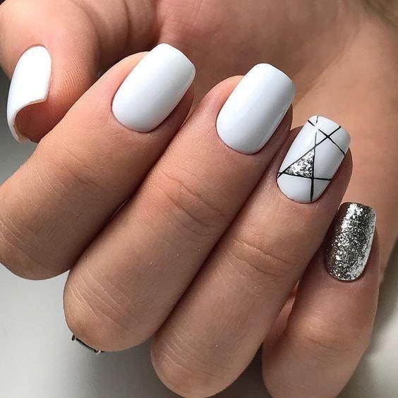 Белый цвет, геометрия и блестки