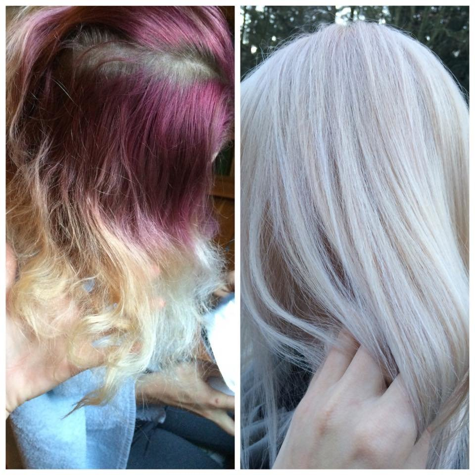 пепельный блонд до и после