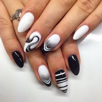 Черно-белый маникюр: идеи дизайна ногтей