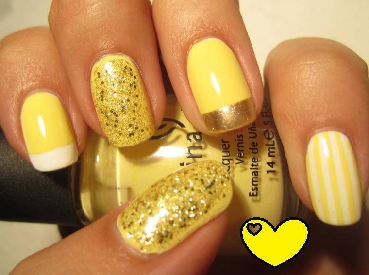 желтый дизайн ногтей
