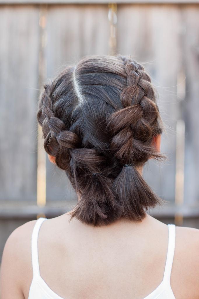 Пышные французские косы на короткие волосы