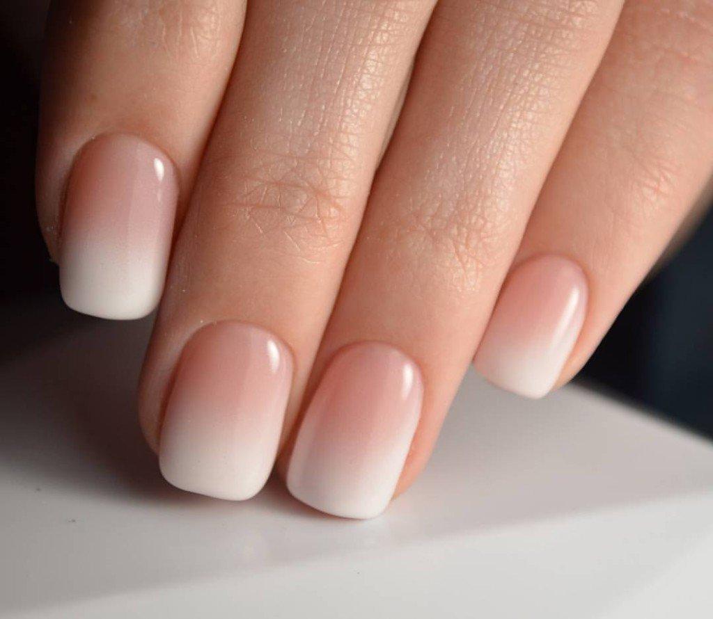 омбре на короткие ногти
