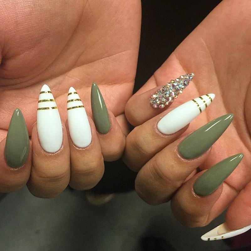 маникюр хаки на длинные ногти