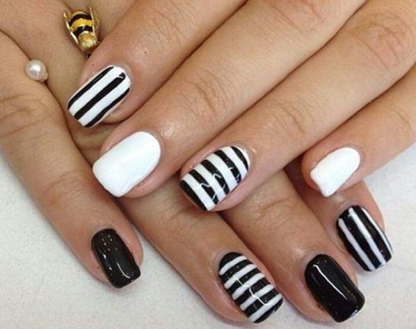 Рисунки на ногтях: черные