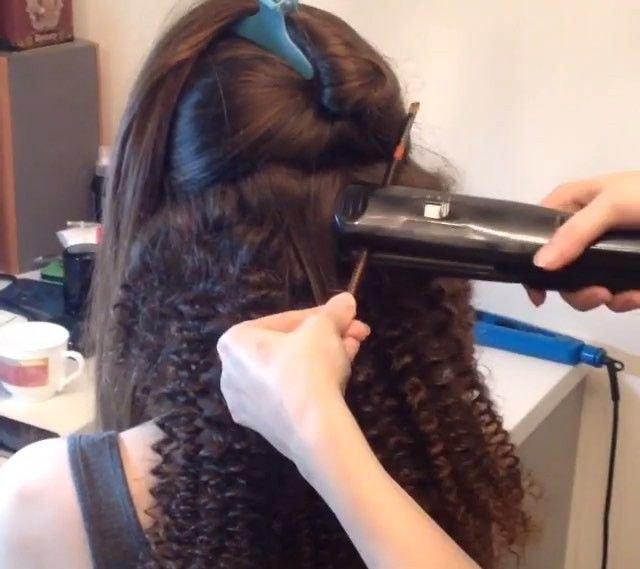 на волосы средней длины на утюжок