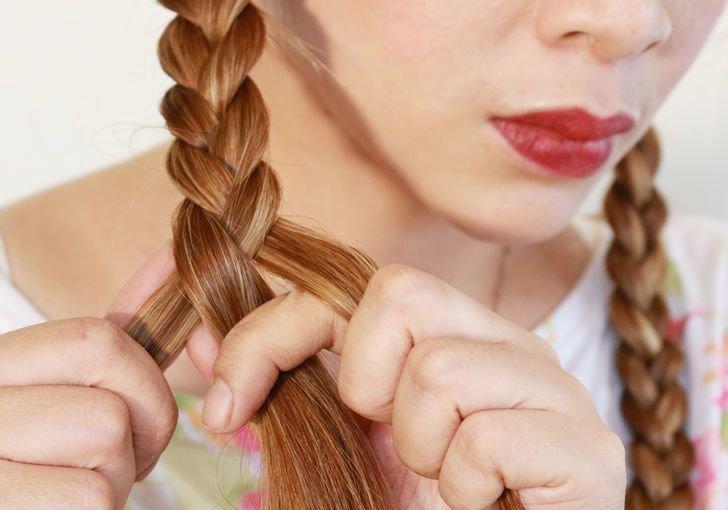 Плетение кос для создания волн